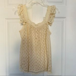 S Cream Lace Top
